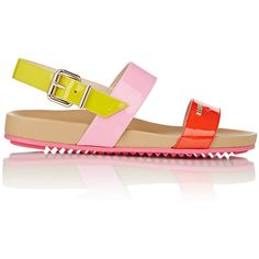 Fendi Women's Colorblocked Double-Band Sandals ($269) ❤ liked on Polyvore featuring shoes, sandals, berry, open toe flat shoes, open toe sandals, open toe flats, flat sandals and slingback flats