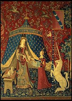 """Entitled """"To my only desire"""" this is the central tapestry of the Lady and the Unicorn series found in the Museum of the Middle Ages in Paris."""