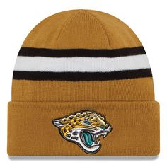 Jacksonville Jaguars New Era Color Rush On Field Cuffed Knit Hat - Gold