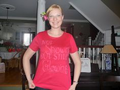 not showing but still glowing DIY teeshirt for adoption shower, bleach and glitter