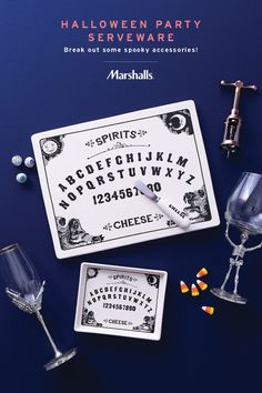 Halloween party serveware — break out the fun with some adorable (and spooky!) accessories. A ouija board cheese platter is a great conversation starter, and skeleton stemware goes right with the theme. Make your Halloween party one to remember at Marshalls.
