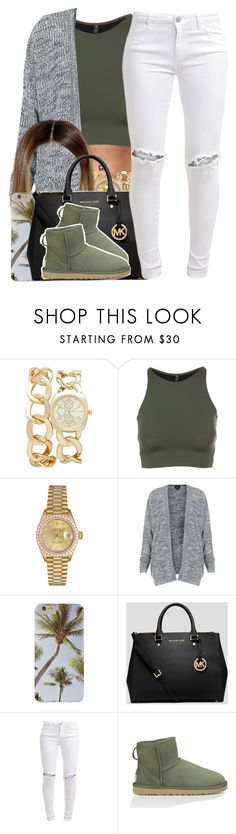 """""""Been A While.."""" by nasiaamiraaa ❤ liked on Polyvore featuring Forever New, Onzie, Rolex, Topshop, MICHAEL Michael Kors, FiveUnits, UGG Australia and NanaOutfits"""