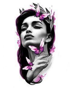 Girl Face Tattoo, Girl Face Drawing, Girl Tattoos, Armband Tattoo Design, Tattoo Sleeve Designs, Black Ink Tattoos, Black And Grey Tattoos, Chicano Tattoos Sleeve, Mujeres Tattoo