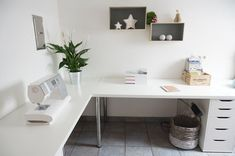 Linnmon desk from IKEA alex drawers. Corner / L shape --- See more ...