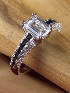 Estate (1920\'s) 3ct Sterling Silver Zircon - Sapphire Ring EDR9698|We combine shipping|No Question Refunds|Bid $60 for free shipping. Starting at $1