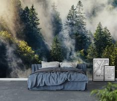 Smoky forest Wall mural is part of Wallpaper bedroom home - Smoky forest Wallpaper from Happywall com Bedroom Wallpaper Nature, Art Deco Wallpaper, Forest Wallpaper, Photo Wallpaper, Nature Bedroom, Tree Wallpaper, Bedroom Murals, Home Decor Bedroom, Bedroom Interiors