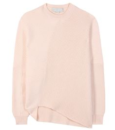Stella McCartney - Wool sweater - Fall into autumn with this cosy luxe staple from Stella McCartney. The designer's nonchalant, captivating style is captured perfectly here. Ribbed wool meets at adjacent angles for dynamic movement reinforced by the asymmetric hem. The sweater's gentle apricot hue finishes this piece on a soft note. seen @ www.mytheresa.com