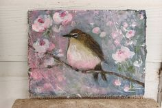 WELCOME and THANKS for stopping in to take a look at my new item      ♥ ♥ ♥ pink belly wren ♥ ♥ ♥    measures 8X6  ♥ ♥  materials used:  acrylic paints
