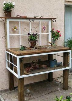 Pflanztisch Aus Alten Fenstern Und Holz Tisch Gebaut