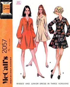 1960s CUTE Dress Pattern McCalls 2057 Vintage Sewing Pattern Kawaii Fit and Flare Dress V Neckline Easy Quickie Sewing Pattern FACTORY FOLDED