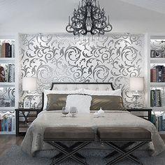 Luxus 3D Optik Vlies Wand Tapete Vliestapete Barock Rolle Wandtapete Silber 10M