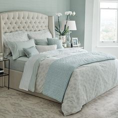 Home Interior Boho Fable Eram Bedding in Duck Egg - ZenDom.Home Interior Boho Fable Eram Bedding in Duck Egg - ZenDom Blue Bedroom Decor, Bedroom Colors, Ikea Bedroom, Bedroom Kids, Bedroom Wall, Coastal Bedrooms, Guest Bedrooms, Blue Bedrooms, Duck Egg Bedroom