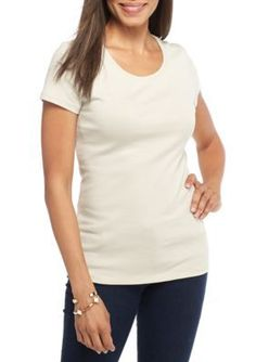 New Directions Weekend Women's Edv Solid Ribbed Fashion Knit Tee - Stone Soho - Xl