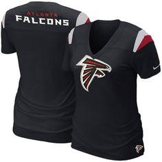 Nike Atlanta Falcons Ladies Fashion V-Neck T-Shirt - Charcoal Falcons Gear b1dd00509