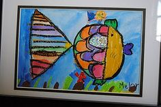 Quickie Rainbow Fish: 1. Pencil with basic shapes.. 2. Oil Pastel Outline. 3. Bright colors. 4. Glitter. Done.
