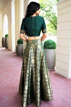 Deep Green Dupion Crop Top with High Waisted Zari Brocade Kalidar Lehenga Skirt Indian Gowns Dresses, Indian Fashion Dresses, Indian Designer Outfits, Indian Outfits, Indian Clothes, Fashion Outfits, Lehenga Crop Top, Lehenga Skirt, Brocade Lehenga