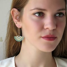 Statement earrings  Long earrings Turquoise and by LioraBJewelry