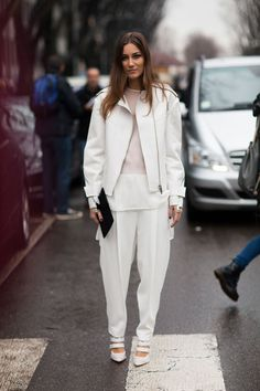 A hint of sheer white sets this winter white look apart.