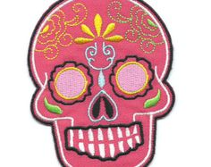 Sugar Skull Iron On Patch  Embroidered by WildflowerandCompany