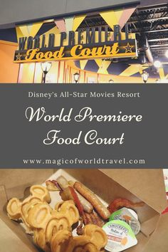 World Premiere food court is at Disney's All-Star Movies Resort. We ate here for breakfast, lunch, and dinner. Also, I explain our experience with ordering food. It has changed since it reopened back in March 2021. Read to find out what we thought of the food. Disney World Hotels, Disney World Restaurants, Walt Disney World, Orlando Theme Parks, Snacks List, Disney Dining Plan, Order Food, Food Court, Foodies