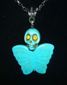 Sugar Skull BUTTERFLY Necklace TURQUOISE STONE Day Of The Dead Skeleton  w Wings #KMEART