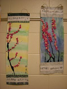 The Grade students looked at and discussed many different varieties of Asian art. We focused on Asian scrolls. A scroll is a rolled pi. New Year Art, Cherry Blossom Art, Chinese New Year Crafts, Art Through The Ages, 2nd Grade Art, Art Folder, Kindergarten Art, Chinese Art, Learn Chinese