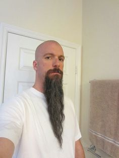 Long goatee & I just committed the T word in Long Beards, more than 4 inches or 10 cm Forum Beard Styles For Older Men, Hair And Beard Styles, Hair Styles, Bald With Beard, Bald Man, Great Beards, Awesome Beards, Long Goatee Styles, Badass Beard