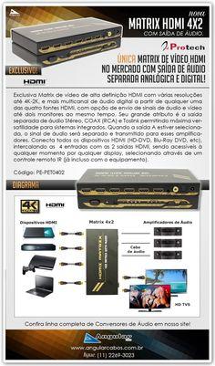 Nova Matrix de video HDMI com 4x2 portas e saída de Áudio separada. Modelo Exclusivo da Protech!