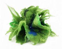 Felted Brooch felt Green Brooch nuno nunofelt silk flower folk boho wool…