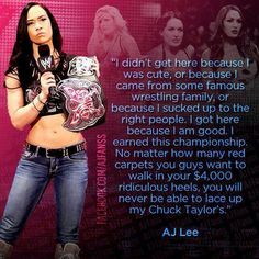 "AJ Lee ""You will never be able to lace up my Chuck Taylor's..."""