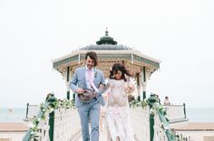 A Beautiful, Pregnant Bride And Her 1930's 'Louche Glamour' Inspired Brighton Pier Wedding...