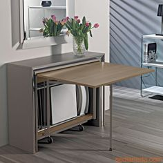 Archimede C Space Saving Dining Table, Dinning Room Tables, Drawer Table, Table Storage, Dinner Room Table, Fold Down Table, Kitchen Island Table, Kitchen Interior, Home Interior Design