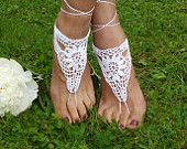 Crochet Barefoot Sandals,Beach Pool,Nude shoes,Foot jewelry,Wedding shoes,White sandles
