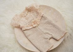 Newborn Romper, Baby Girl Photo Outfit, Lace Romper, Newborn Photo Prop, Vintage Romper, Oatmeal, Newborn Props, Baby Picture Prop by LovelyBabyPhotoProps on Etsy