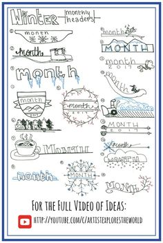 Winter themed Bullet Journal headers. Bullet Journal ideas.
