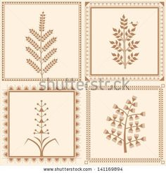 Vintage trees frame - stock vector