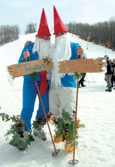 Petosky, Michigan cross-country ski gnomes.