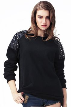 Rivet Embellished Black Pullover #Romwe