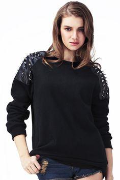 Rivet Embellished Black Pullover #Romwe