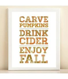 Orange, Tan, & Brown print poster from Etsy. Like the idea of having this framed right by the serving table at Thanksgiving or at a Halloween party. Sweater Weather, Pumpkin Drinks, Pumpkin Recipes, Thing 1, Happy Fall Y'all, Illustrations, Fall Harvest, Harvest Moon, Holidays Halloween