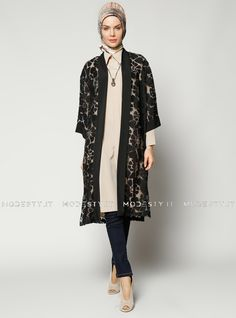 islamische kleidung fuer frauen mymodestystyle.com besuchen sie unsere shop #hijab #abayas #tuekische kleider #abendleider #islamischekleidung  Fired Topcoat - Black - Refka - <p>Fabric Info:</p> <p>70% Cotton</p> <p>30% Polyester</p> <br> <p>Unlined</p> <p>Weight: 0.27 kg</p> <p>Measures of 38 size:</p> <p>Height: 117 cm</p> <p>Bust: 104 cm</p> <p>Waist: 114 cm</p> <p>Hips: 112 cm</p> - SKU: 232093. Buy now at http://muslimas-shop.com/fired-topcoat-black-refka.html