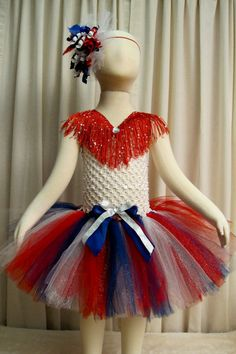 .Pageant Sparkly Patriotic Tutu Dress - 4th of July Tutu Dress - Red White and Blue Tutu Dress - Fits 12 months through 3T