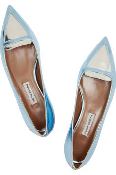 Tabitha Simmons|Alexa metallic leather point-toe flats|NET-A-PORTER.COM