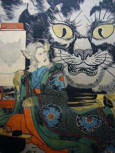 Utagawa Kuniyoshi -    The actor:Onoe Kikugorô III as the Cat-Witch