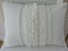 Linen Ruffle Pillow-Linen Ruffle Pillow, ivory linen   via Cottage White