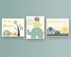 Nursery Art Decor, Kids Print, gender neutral nursery art, baby Elephant... set of 3 8x10..gray, yellow, turquoise, aqua
