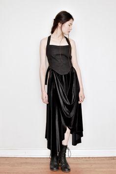 379e84e0783 Pastorale Midi Skirt in Black Velvet