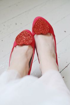 Glitter shoe clips to add love to any pair of shoes.