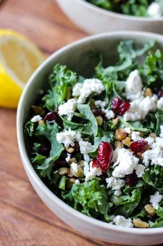 Kale and Goat Cheese Salad Chopped kale salad with goat cheese, dried cranberries, nuts a homemade salad dressing. It's a light, creamy and crunchy salad recipe made for summer! Cranberry Cheese, Cranberry Salad, Goat Cheese Recipes, Goat Cheese Salad, Kale Salad Recipes, Healthy Recipes, Lean Recipes, Kale Salads, Healthy Salads