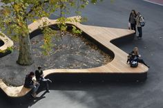 architecture - Tree Bench Designs That Literary Embrace Nature Landscape Arquitecture, Landscape And Urbanism, Landscape Elements, Landscape Architecture Design, Urban Architecture, Urban Landscape, Architecture Diagrams, Architecture Portfolio, Amazing Architecture